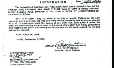 Setting the record straight; Bander was wanted in the Philippines for 'Acts of Lasciviousness'