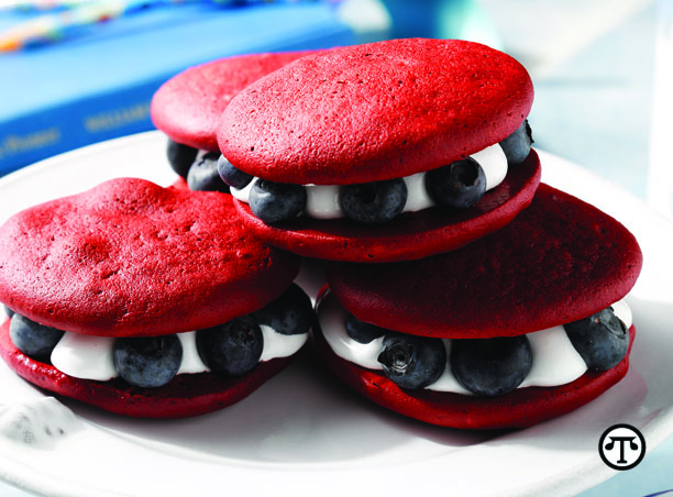 Red, White and Blueberry Whoopie Pies