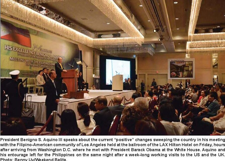 Fil-Ams welcome President Benigno Aquino III with protest in Los Angeles