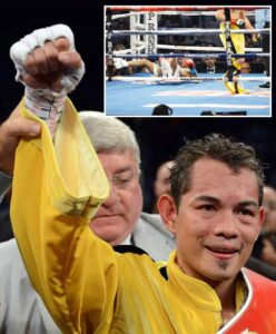 Nonito Donaire (inset) of The Philippines celebrates a unanimous decision over Jeffery Mathebula of South Africa during the WBO IBF Super Bantamweight title fight at The Home Depot Center on July 7, 2012 in Carson, California. (MNS photo)