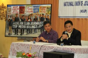 Philippine Deputy Speaker of the House of Representatives, one of the main guest speaker at the observance of the 3rd Anniversary of the Maguindanao Massacre along with Philippine Daily Inquirer columnist Benjamin Pimentel (left), shares his thoughts before the members of the media and other guests who attended the event held Wednesday at the Filipino American Community of Los Angeles (FACLA) Social Hall in the Filipinotown. Photo: Benny Uy