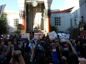 More than a thousand Filipino-Americans marched to LA's Hollywood District and held a rally demanding full recognition for Filipino World War II veterans on Nov. 11, Veterans' Day. Photo courtesy of Daniel Salera