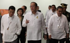 President Benigno S. Aquino III is received by Davao City Vice Mayor Rodrigo Duterte and Tourism Secretary Ramon Jimenez, Jr., upon arrival for the Opening Ceremony of the 2013 Philippine M.I.C.E. Conference (MICECON 2013) at the 3rd Floor, SMX Convention Center, SM Lanang Premiere in Davao City on Thursday (March 07, 2013). The MICE Conference is a prestigious gathering of key players in the travel and tourism industry. The conference will provide the Host an opportunity to showcase its destinations to approximately 400 stakeholders in the tourism industry comprised of: travel agents, tour operators, hoteliers, resort owners, professional congress/ exhibition/event organizers, association/corporate executives, destination management companies, airline representatives, local government officials, academe, students and the media. (MNS photo)).