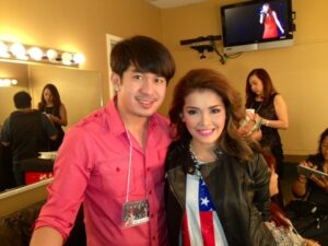 Colina Salon owner and CEO Marlou Colina with the phenomenal singer KZ Tandigan during the highly successful Side A concert at The Grove of Anaheim that also featured KZ.