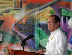"""President Benigno S. Aquino III delivers his message during the 115th Anniversary of the Department of Public Works and Highways (DPWH) at the DPWH Quadrangle, Central Office in Bonifacio Drive Port Area, Manila City on Thursday (June 20, 2013). This year's theme: """"Sa DPWH, Bawat Isa, Tulay sa Pagbabago"""". DPWH is mandated to undertake the planning of infrastructure, such as national roads and bridges, flood control, water resources projects and other public works, and the design, construction, and maintenance of national roads and bridges, and major flood control systems. (MNS photo)"""