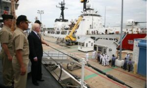 Aboard PF-16. Capt. Ernesto Baldovino, commanding officer of the BRP Ramon Alcaraz (PF-16) shows Ambassador Jose L. Cuisia Jr. the capabilities of the vessel during the envoy's visit on Sunday, the eve of its departure for the Philippines. Looking on is Capt. Elson Aguilar, Defense and Naval Attache at the Philippine Embassy in Washington, D.C. (Philippine Embassy Photo by Elmer G. Cato)