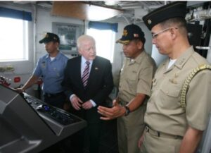 Sister Ship. Ambassador Jose L. Cuisia Jr., accompanied by Capt. Ernesto Baldovino, commanding officer of the BRP Ramon Alcaraz (PF-16) and Capt. Elson Aguilar, Defense and Naval Attache at the Philippine Embassy in Washington D.C. look at the USCGC Gallatin, sister ship of the Alcaraz and the BRP Gregorio Del Pilar (PF-15) at the Federal Law Enforcement Training Center in Charleston, South Carolina, on Sunday. The Alcaraz will be leaving for the Philippines on Monday. (Philippine Embassy Photo by Elmer G. Cato)