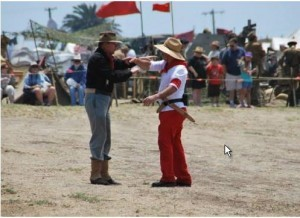 """Photo above shows the re-enactment on how the Philippine-American War started due to a """"mis-understanding""""."""