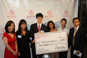 (From Left) APCF Executive Director Debra Fong with Verizon Scholarship Awardees Meagan Shinbashi,Chiyoung Kim, and Deeksha Goyal, and Gene Eng, Verizon Vice President of External Affairs.