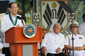 President Benigno S. Aquino III delivers his message during the Presidential Security Group (PSG) Change of Command Ceremony and Testimonial Review with Retirement Ceremony at the PSG Grandstand, Malacañang Park in Manila City on Friday (August 30). PSG is the lead agency tasked in providing security to the President of the Philippines and the First Family. They also provide protective security to visiting Heads of States and diplomats. (MNS photo)