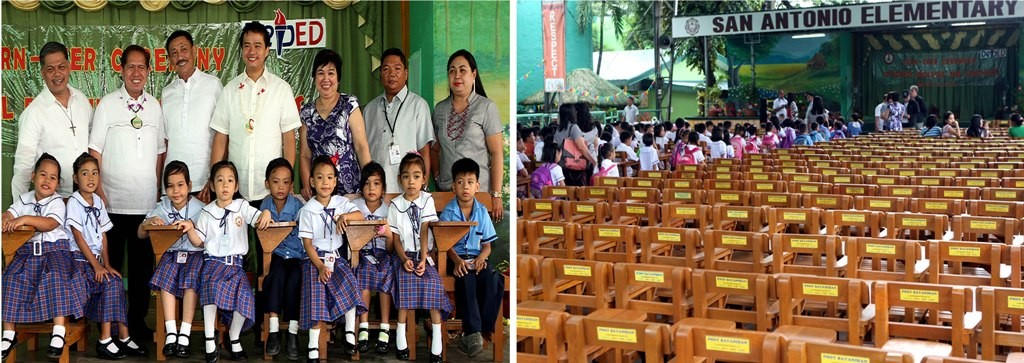PAGCOR, DepEd, DENR and TESDA recently donated 500 brand new armchairs to the San Antonio Elementary School in Quezon City to help address the school's urgent need. Present during the turnover are (from left) DepEd Secretary Armin Luistro, DENR Undersecretary for Field Operations Demetrio Ignacio Jr., PAGCOR Assistant VP for Community Relations and Services Henry Reyes, TESDA Director General Joel Villanueva, Schools Division Superintendent Corazon Rubio, Public School District Supervisor Juan Obierna, and school Principal Wilma Manio. (MNS photo)