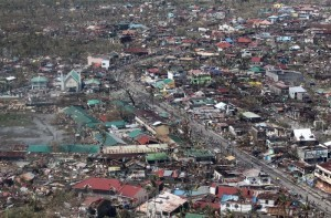 Aerial shot of the province of Leyte to personally assess the extent of damage brought by Super Typhoon Yolanda (Haiyan) on Sunday (November 10, 2013). Typhoon Yolanda, the world's most powerful typhoon in 2013, packing more than 300kph when it made landfall in Central Visayas Friday morning. (Photo by:Ryan Lim / Malacanang Photo bureau)