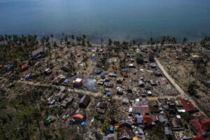 An aerial view of houses devastated by Typhoon Haiyan is seen at Barangay San Antonio, Basey Samar November 25, 2013. Typhoon Haiyan, the biggest storm ever to make landfall, struck the central Visayan islands on November 8, killing more than 5,200 people, displacing 4.4 million and destroying about 12 billion pesos in crops, property and infrastructure.(MNS photo)