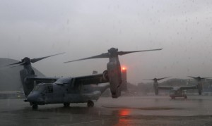 Two U.S. Marines V-22 Ospreys, ferrying personnel to help in the relief efforts in Tacloban City, are seen on the tarmac at Villamor Air Base in Manila November 13, 2013. Philippine officials have been overwhelmed by Haiyan, one of the strongest typhoons on record, which tore through the central Philippines on Friday and flattened Tacloban, coastal capital of Leyte province where officials had feared 10,000 people died, many drowning in a tsunami-like wall of seawater. (MNS photo)