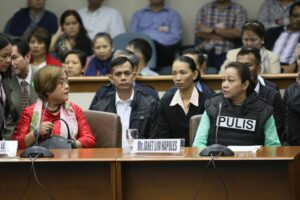 Senate Blue Ribbon Committee, poses questions to Janet Lim-Napoles, alleged pork barrel scam mastermind during the hearing on Thursday (Nov. 7, 2013) at the Senate building in Pasay City. (MNS photo)