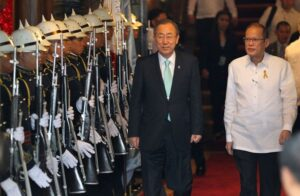 President Benigno S. Aquino III and United Nations (UN) Secretary General Ban Ki-Moon troop the line during the Departure Honors at the Malacañan Palace Main Lobby for his Courtesy Call on Saturday (December 21, 2013). The UN Chief is also scheduled to visit communities that were devastated by super typhoon Yolanda in Tacloban City, one of the areas hit hardest by the super typhoon when it made landfall in the Visayas and Southern Luzon last November 08, 2013. (MNS photo)