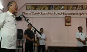 President Benigno S. Aquino III delivers his speech during the Presentation of Estero de San Miguel Micro Medium-Rise Building (mMRB) Model Unit at the Claro M. Recto High School Auditorium in Barangay 412, Zone 42, Legarda Street, Sampaloc, Manila City on Wednesday (February 19, 2014). The Estero de San Miguel Project is in line with the program goal of providing safe, affordable, decent and humane relocation in accordance with the Relocation Action Plan (RAP) through the People's Plan mechanism and process for on-site, near-city relocation of affected ISFs in accordance with People's Plan that contains shelter solutions and finance scheme development, validated and accepted by the ISFs themselves. The MRB model unit started construction in November 2013 and was completed in January 2014. (MNS photo)