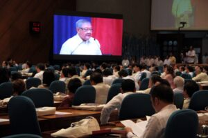 Speaker Feliciano Belmonte Jr. delivers his speech at the opening of the Second Regular Session of the House of Representatives at the Batasang Pambansa Bldg. in Quezon City on Monday morning (July 28, 2014). (MNS photo)