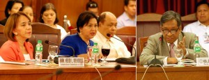 Department of Trade and Industry (DTI) Secretary Gregory L. Domingo presents the proposed DTI Budget for 2015 during the House Appropriations Committee hearing on Wednesday (Sept. 3, 2014) at the House of Representatives in Batasan Hills, Quezon City. Also in photo (right) is Rep. Henry S. Oaminal (2nd Dist. Misamis Occidental), member of the committee. (MNS photo)
