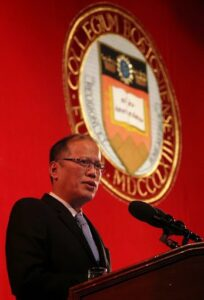 Aquino  expressed appreciation to Boston College, a 150-year old institution founded by the Jesuits, just across the street from the Aquino family's old house on 175 Commonwealth Avenue, Chestnut Hill - a quiet and affluent neighborhood 15 kilometers west of downtown Boston.
