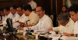 President Benigno S. Aquino III presides over the National Economic and Development Authority (NEDA) Board Meeting at the Aguinaldo State Dining Room of the Malacañan Palace on Friday (October 17, 2014) Also in photo are Presidential Communications Operations Office (PCOO) Secretary Herminio Coloma Jr., Presidential Legal Counsel Alfredo Benjamin Caguioa, Secretary to the Cabinet Jose Rene Almendras, Finance Secretary Cesar Purisima, Trade and Industry Secretary Gregory Domingo and  Environment and Natural Resources Secretary Ramon Jesus Paje. (MNSPhoto)