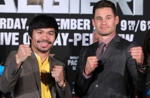 """""""Manny looks tremendous. He has worked hard against the best sparring partners he has ever had.  He knows what is at stake here.  Believe me, he wants an emphatic victory.  He needs an emphatic victory.  That is why he has gone the extra mile in this camp to achieve that,"""" said Freddie Roach. Pacquiao will face Chris Algieri on November 22 in Macau, China. Photo: Chris Farina/Top Rank"""