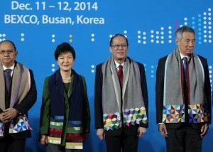 """(BUSAN, South Korea) President Benigno S. Aquino joins other leaders of ASEAN Member States (AMS) for the Leaders Group Photo during the 25th ASEAN-Republic of Korea Commemorative Summit 2014 at the Convention Hall of the Busan Exhibition and Convention Center (BEXCO) on Friday (December 12, 2014). With theme: """"Building Trust, Bringing Happiness,"""" reflecting ROK's commitment to strengthen its relationship with ASEAN through trust, which should result in happiness for the citizens of ASEAN and the ROK. The Summit covers the review of the ASEAN-ROK cooperation and its future direction, and the cooperation on non-traditional security issues with emphasis on climate change and disaster risk management. Also in photo are Republic of the Union of Myanmar President U Thein Sein, Korean President Park Geun-Hye and Republic of Singapore Prime Minister Lee Hsien Loong. (MNS Photo)"""