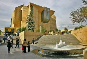 The Cathedral of Our Lady of the Angels — entry courtyard with fountain, in Downtown Los Angeles, California. (photo courtesy of http://en.wikipedia.org/)