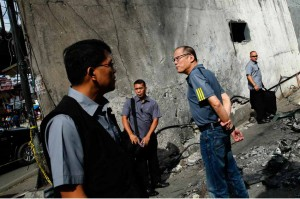 President Aquino visits on Monday the site of the explosion in Zamboanga City last week that killed two people and wounded 50 others. Aquino also saw the victims in the hospital and inspected the city jail after reports point to a plot by the Abu Sayyaf to free its jailed members.(MNS photo)