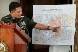 At a media briefing at Camp Aguinaldo on Wednesday, February 4, AFP chief Gen. Gregorio Pio Catapang Jr. shows a map where the January 25 Mamasapano clash that killed over 50 people, most of them PNP-SAF commandos, took place.  (MNS photo)