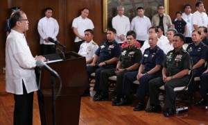 President Benigno Aquino III announce that suspected Jemaah Islamiyah (JI) terrorist Zulkipli bin Hir alyas Marwan confirmed dead during SAF operation in Brgy. Tukanalipao, Mamasapano, Maguindanao and Accepted the Resignation of Suspended PNP Chief P/ Director General Allan Purisima during his message on Friday(Frebruary 6, 2015) held at the President hall in Malacanang.MNS Photo)