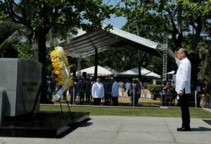 President Benigno S. Aquino III offers a wreath during the inauguration of the Museo ni Emilio Aguinaldo at the Emilio Aguinaldo Shrine in Kawit, Cavite on Friday (March 20). The museum chronicles the life and times of Aguinaldo, especially during the revolution against Spain and war against the United States. (MNS photo)