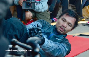 """Manny Pacquiao does his daily routine of exercises at Griffith Park in Los Angeles as the Filipino pugilist is in deep in training for the """"fight of his life"""" against Floyd Mayweather Jr. on May 2 at the MGM Grand Arena in Las Vegas, Nevada. Photo: Benny Uy"""