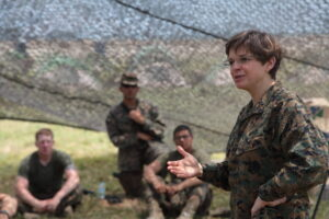 ZAMBALES, Philippines (April 9, 2013) Chaplain of the Marine Corps Rear Adm. Margret G. Kibben speaks to members of the 3rd Law Enforcement Battalion about the work they are doing during Exercise Balikatan 2013. Balikatan is an annual Philippine-U.S. bilateral exercise. Humanitarian assistance and training activities enable the Philippine and American service members to build lasting relationships, train together and provide assistance in communities where the need is the greatest. (U.S. Marine Corps photo by Lance Cpl. Brandon C. Suhr/Released)