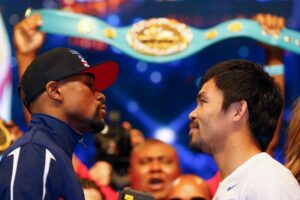 Filipino boxing icon and WBO welterweight champion Manny Pacquiao and WBC/WBA welterweight champion American Floyd Mayweather Jr. face off during their official weigh-in on Friday (Saturday in Manila) at the MGM Grand Garden Arena in Las Vegas, Nevada for their welterweight unification bout on May 2. (MNS Photo)