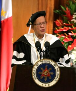 President Benigno S. Aquino III delivers his speech during the Conferment Ceremony at the Reception Hall of the Malacañan Palace on Thursday (May 14, 2015). President Aquino received his Doctor of Humanities degree, Honoris Causa, from Tarlac State University (TSU) president Dr. Myrna Mallari. (MNS Photo)