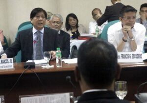 The Senate Committee on Local Government, chaired by Senator Bongbong Marcos, together with the Committees on Peace Unification and Reconcillation; and Constitutional Amendments and Revision of Codes, will contiunue its inquiry on the proposed Bangsamoro Basic Law. Also present during the BBL hearing is Senator Chiz Escudero. (MNS photo)