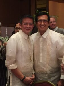 117th Phil. Independence Day celebration guest of honor, Senator Chiz Escudero Hilton Los Angeles Universal City with former Philippine Journal Inc – publisher of People's Journal, People's Tonight and the defunct Times Journal – employee Jingo Giron. (Photo posted by Jingo Giron on his Facebook page)