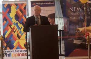 Ambassador Jose L. Cuisia, Jr. while delivering his remarks during arrival and send off ceremony for passengers of Philippine Airlines maiden flight to NewYork in mid-March this year at the John F. Kennedy International Airport. (Philippine Embassy Photo by Emil Fernandez)