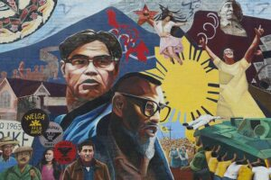 A mural of Filipino labor leaders in Los Angeles.