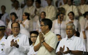 President Benigno S. Aquino III is the guest of honor in the El Shaddai Charismatic Renewal Movement 31st anniversary celebration, coinciding with the 76th birthday of its spiritual leader-founder Mariano Z. Velarde, also known as Brother Mike, at the El Shaddai House of Prayer at Amvel Business Park in Paranaque City Sunday morning, (August 23). Accompanying the President are DILG Secretary Manuel Roxas III and DND Secretary Voltaire Gazmin. (MNS photo)