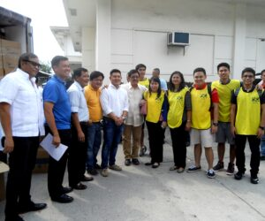 (from left) Alex Cauguiran [mayor's chief of staff],George Kenneth  Lee [ Latter-Day Saints Charities Welfare manager],Jose M. Briones [Angeles Philippines Stake President of The Church of Jesus Christ of Latter Day Saints], Councilor Alex Indiongco, Councilor Alex Indiongco, Angeles City Mayor Edgardo Pamintuan,Margarita Lagman [LDS Angeles Philippines Stake Public Affairs Director],Nancy S. Dizon [Angeles Stake Relief Society President], LDS Mormon Helping Hands Volunteers, Jhon Jay Ocampo, Jerome Bernardo, Kashka Badian and Jonathan Marzan [at the back] photo by : P. Lagman