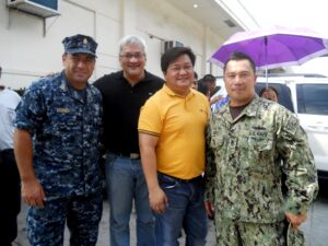 """(from left)US Navy S7 Luis Siguenza, Councilor Carmelo """"Pogi"""" Lazatin, Councilor Alex Indiongco and US Navy SCPO Guy Gagui (photo by P. Lagman)"""