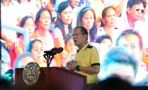 President Benigno S. Aquino III delivers his speech during the briefing on the major infrastructure projects in the Province of Misamis Occidental held at the Sinanduloy Cultural Centre in Tangub City on Wednesday (September 09). (MNS photo)