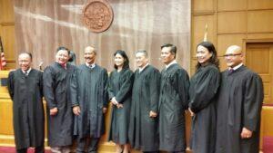 "From left, Judges Mel ""Red"" Recana, Tomson Ong, Ralph Ongkeko, Lisa Chung, Bernie LaForteza, Rob Villeza, Teresa Magno and Julian Recana."