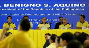 LP chairman President Benigno S. Aquino III attends the Liberal Party (LP) Joint National Directorate and National Executive Council (NECO) Meeting at the LP Headquarters in Balay, Cubao, Quezon City on Wednesday (September 30). (MNS photo)