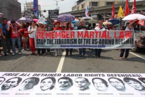 Human rights advocates hold a protest rally commemorating the 43rd anniversary of the declaration of Martial Law at the Mendiola Peace Arch on Monday. The protesters urged the government to uphold human rights and immediately address extra-judicial killings in the country.(MNS photo)