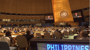 UN Secretary-General Ban Ki Moon announces to the UN General Assembly his appointment of the Philippines' Ms. Heidi S. Mendoza, Commissioner of the Philippine Commission of Audit, as Under-Secretary General of the Office of Internal Oversight. Ms. Mendoza is the first Filipino ever to be appointed as Under-Secretary General in the UN Secretariat.