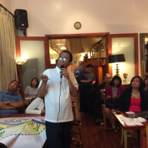 Mayor Eugenio Bito-onon of Pag-asa Municipality, Kalayaan Island Group, Palawan speaks before the members of the Fil-Am media and the community at the LA Rose Cafe against China's bullying and island grabbing in the Spratleys. The forum in Los Angeles Wednesday was sponsored by LA US Pinoys for Good Governance led by Ms. Rocio Nuyda.