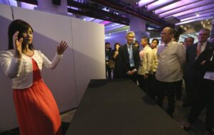 President Benigno S. Aquino III views the exhibits after gracing the Asia-Pacific Economic Cooperation (APEC) Small and Medium Enterprises (SME) Summit 2015 at The Green Sun – Arts/Creative Hub in Chino Roces Avenue Extension corner Lumbang Street, Makati City on Tuesday (November 17). The APEC SME Summit 2015 will bring together the region's micro, small and medium-sized business entrepreneurs to share success stories of SME innovation and internationalization, as well as to highlight institutional support mechanisms proven to drive innovation-based SME growth. Also in photo is ABAC APEC Philippines member Jaime Zobel de Ayala. (MNS photo)